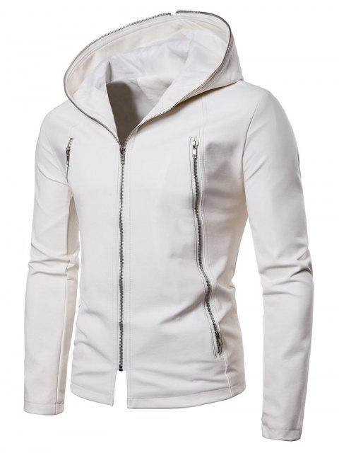 shop Solid Full Zipper Up PU Jacket - WHITE L Mobile
