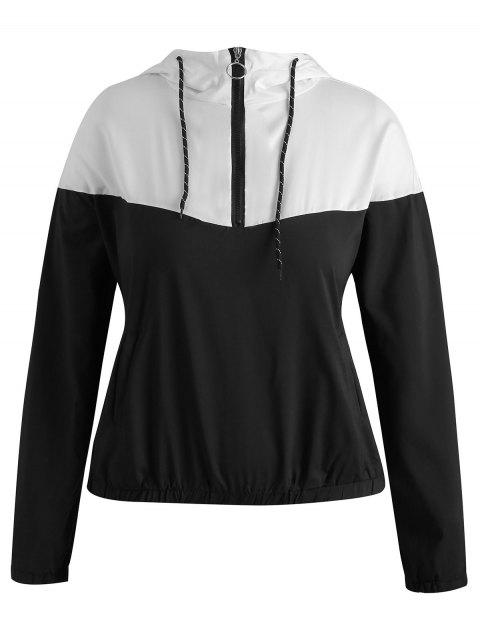 outfits Half Zip Plus Size Two Tone Hoodie - MULTI-A 1X Mobile