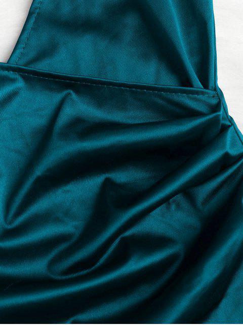 Robe de Soirée à Bretelle Croisée Camouflage - Paon Bleu M Mobile