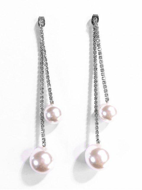 Boucles d'oreilles dormeuses décorées de perles artificielles - Argent  Mobile