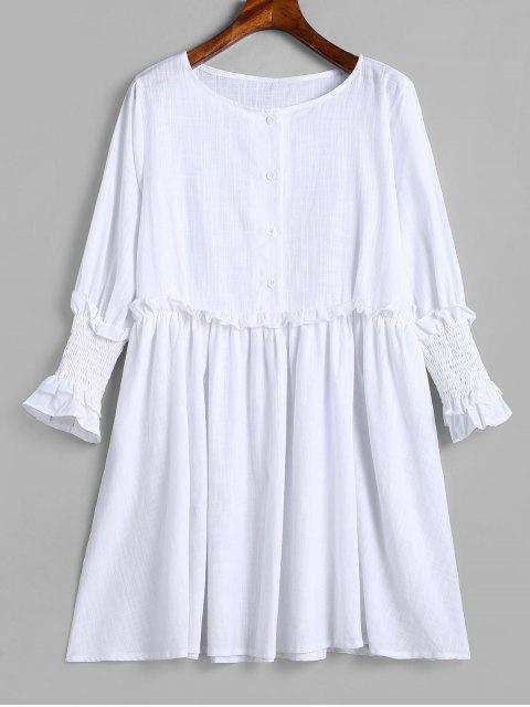 Robe Tunique à Demi-Bouton à Volants - Blanc Lait XL Mobile