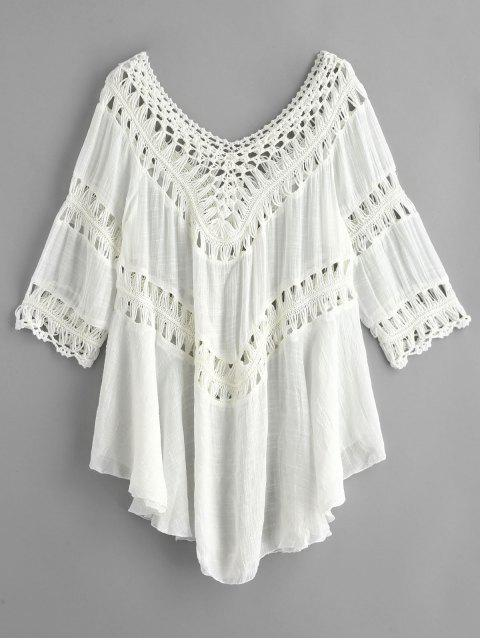 women Crochet Panel Hanky Beach Cover Up Dress - WHITE ONE SIZE Mobile