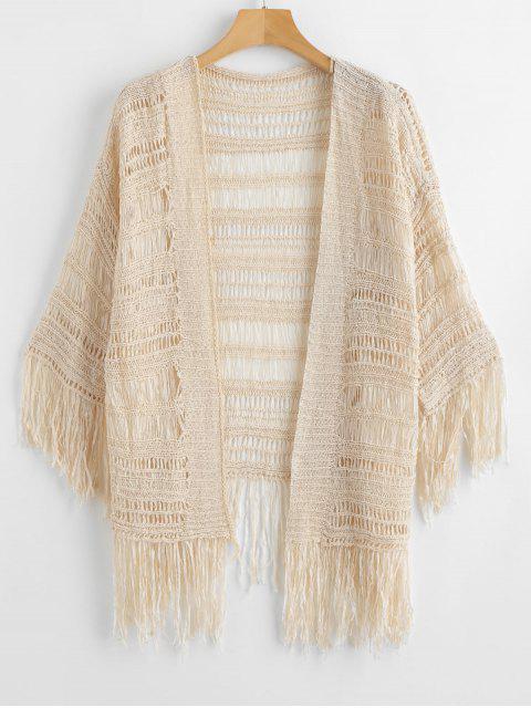 Plage de crochet ouverte frangée Cover Up - Blanc Chaud Taille Unique Mobile