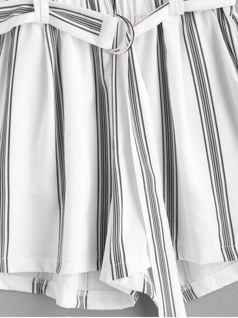 Short Rayé Ceinturé Anneau en D - Blanc S Mobile
