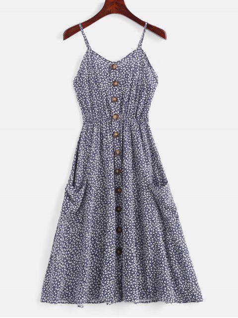 Robe Fleurie à Bretelle Embellie de Boutons - Bleu Foncé Toile de Jean M Mobile