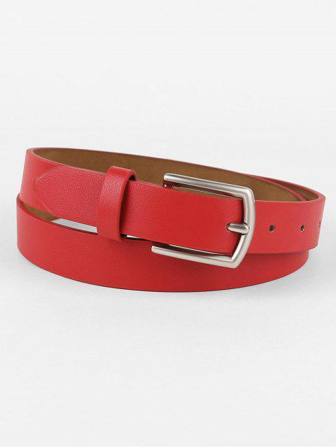 shops Vintage Solid Color Faux Leather Waist Belt - RED  Mobile