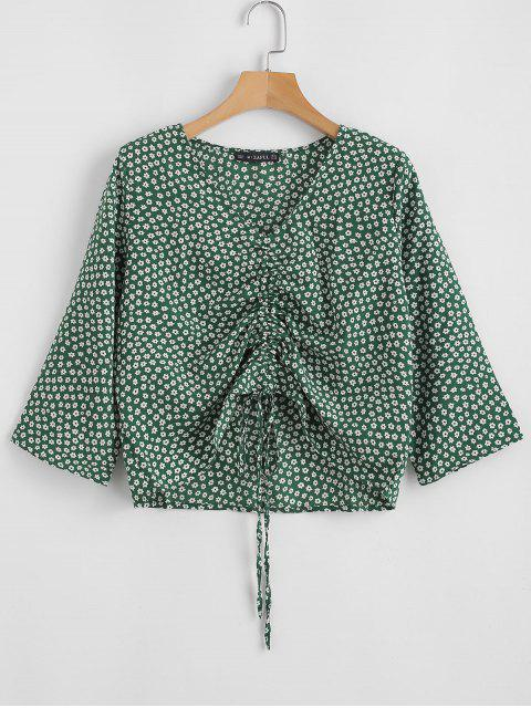 trendy V Neck Cinched Tiny Floral Blouse - GREEN M Mobile