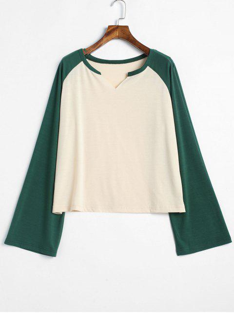 lady Notched Raglan Sleeve Two Tone Tee - MULTI L Mobile