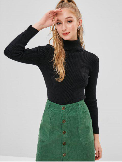 affordable ZAFUL Turtleneck Ribbed Sweater - BLACK ONE SIZE Mobile