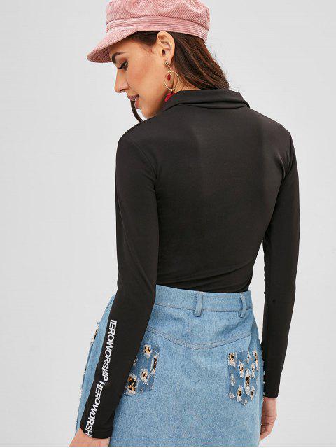 T-shirt Lettre Graphique Jointif à Demi-Zip - Noir Taille Unique Mobile