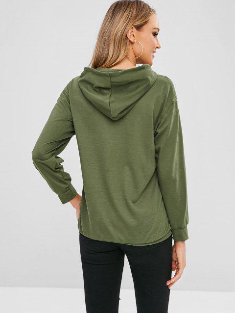 buy Kangaroo Pocket Plain Ripped Hoodie - GREEN L Mobile