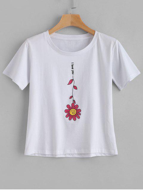 Te amo camiseta floral - Blanco S Mobile