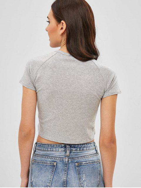 shops Raglan Sleeve Graphic Cropped Tee - GRAY S Mobile