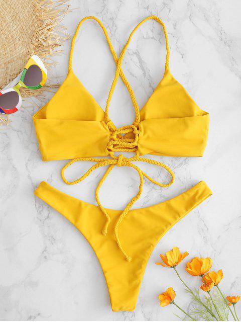 latest ZAFUL Lace-up Braided Strap Bikini Set - ORANGE GOLD S Mobile