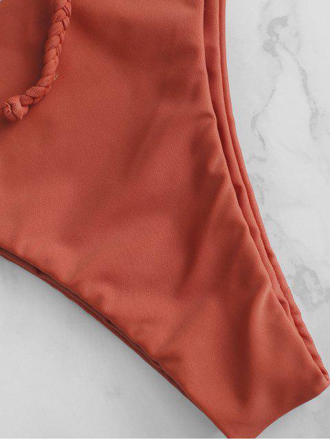new ZAFUL Lace-up Braided Strap Bikini Set - CHESTNUT RED M Mobile