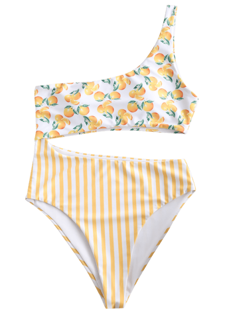womens ZAFUL Orange Striped Cutout One Shoulder Swimsuit - MULTI-A M Mobile