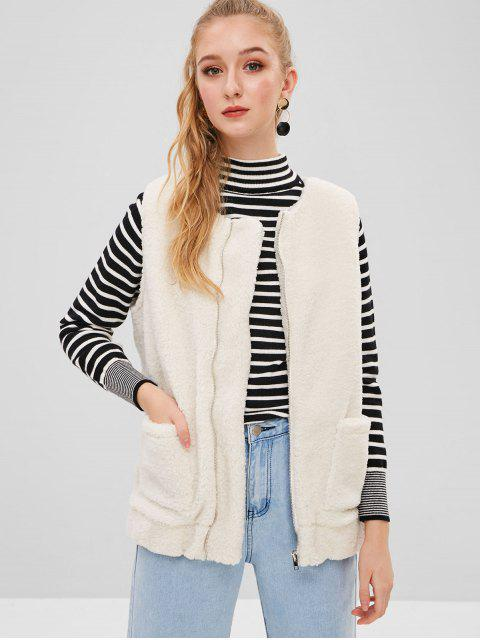 ZAFUL Fluffy Zip Up Faux Shearling Chaleco - Blanco S Mobile