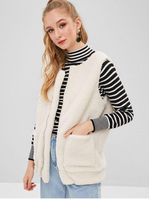 ZAFUL Fluffy Zip Up Faux Shearling Chaleco - Blanco L Mobile