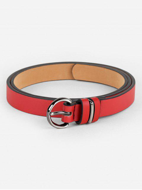 outfit Simple Artificial Leather Skinny Waist Belt - RED  Mobile