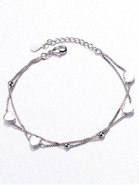 shops Beaded Heart Shape Bracelet - SILVER  Mobile