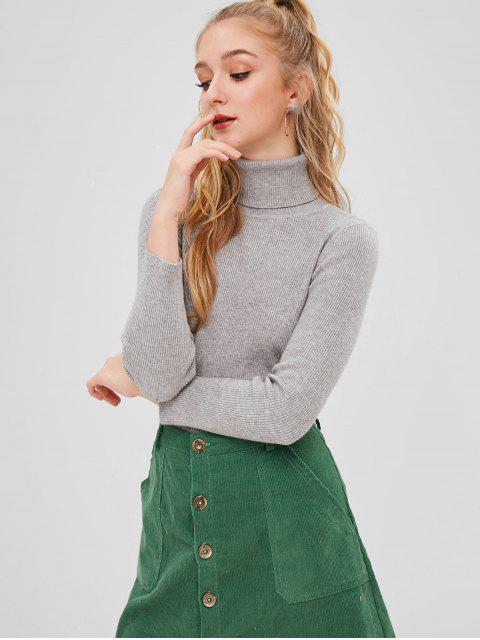 buy ZAFUL Turtleneck Ribbed Sweater - GRAY GOOSE ONE SIZE Mobile
