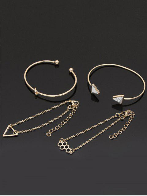 women 4Pcs Geometric Triangle Design Hollow Bracelets Set - GOLD  Mobile