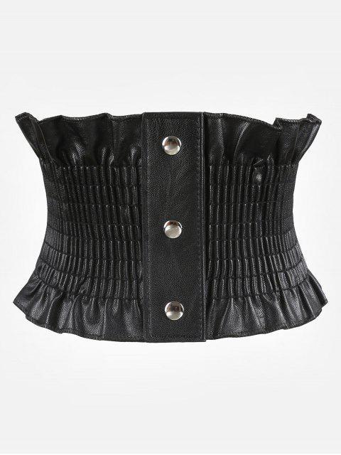 fashion Elegant Wide Corset Elastic Button Belt - BLACK  Mobile
