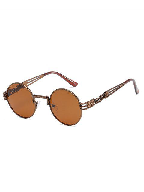 trendy Unique Spring Legs Embellished Round Sunglasses - BROWN  Mobile