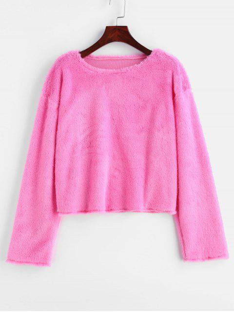 unique Faux Fur Sweatshirt - HOT PINK ONE SIZE Mobile