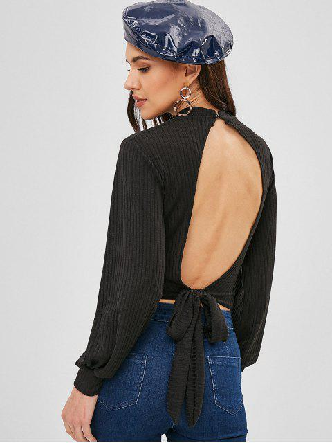affordable Keyhole Cut Out Knotted Knitted Top - BLACK L Mobile
