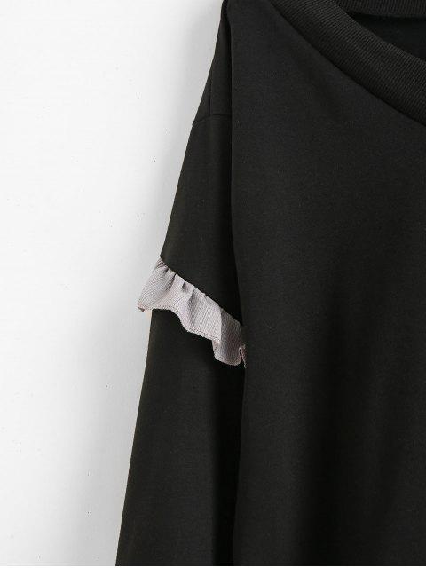 Sweat-shirt Ourlet à Volants à Col V - Noir M Mobile