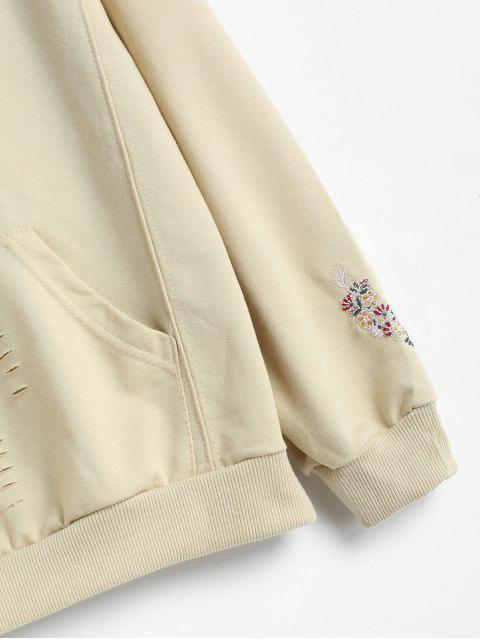 outfit Ripped Front Pocket Embroidered Hoodie - BEIGE XL Mobile