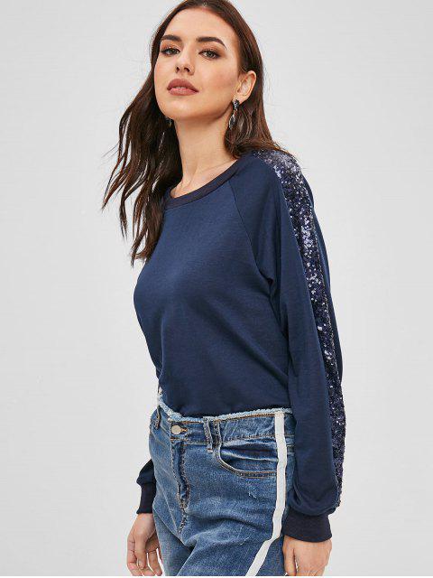 Sweat-shirt à Col Rond à Paillettes - Ardoise bleue foncée XL Mobile
