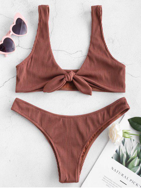 fancy ZAFUL Tie Textured Ribbed Bikini Set - CHESTNUT S Mobile