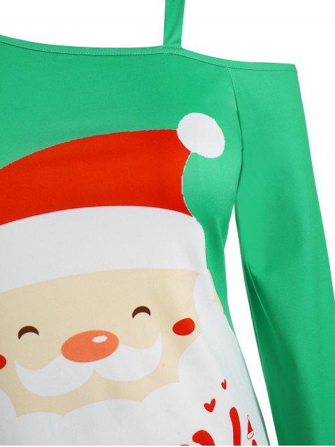 Plus Size Asymmetric Christmas Graphic Skew Neck Dress - 藍晶 L Mobile