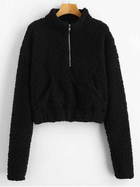 latest Half Zip Fluffy Faux Shearling Teddy Sweatshirt - BLACK S Mobile