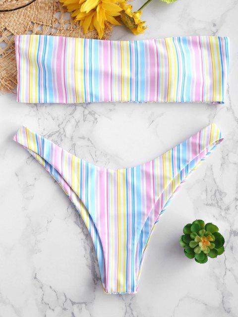 chic ZAFUL Colorful Stripe Bandeau Bikini Set - MULTI-A S Mobile