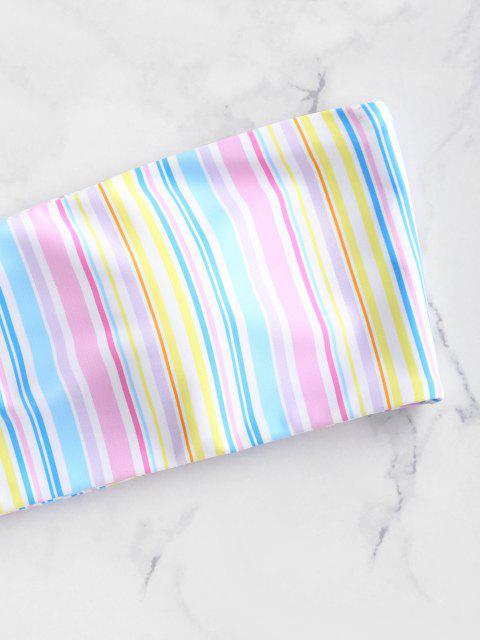 Zaful conjunto de biquíni colorido bandeau listra - Multi-A L Mobile