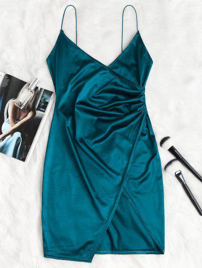 Cami Draped Crossover Slip Party Dress - Peacock Blue M