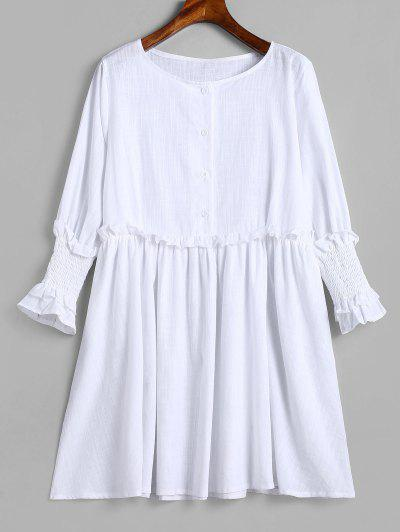 1a18d51875a Half Buttoned Frilled Tunic Dress - Milk White Xl ...