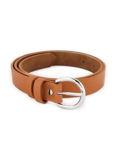 Simple Silver Metal Buckle Artificial Leather Belt - Camel Brown