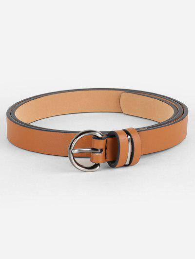 Simple Artificial Leather Skinny Waist Belt - Camel Brown