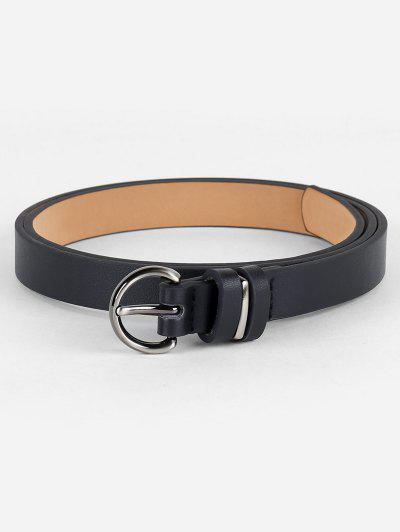Simple Artificial Leather Skinny Waist Belt - Black