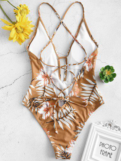 df9651fe01cd0 ... ZAFUL Floral Leaf Print Criss Cross Swimsuit - Cinnamon M HOT
