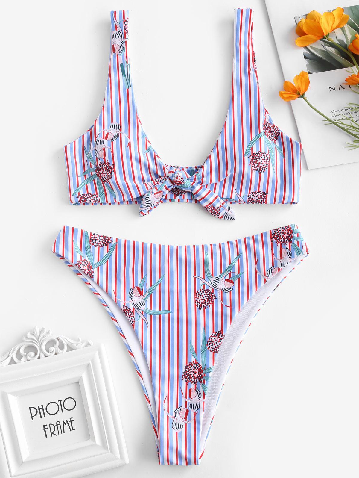 ZAFUL Striped Plant High Waisted Bikini Set, Multi-a