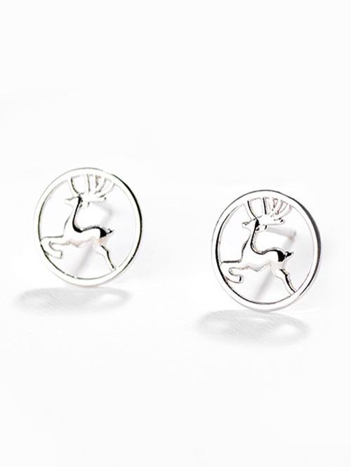 Christmas Deer Printed Hollow Design Stud Earrings, Silver