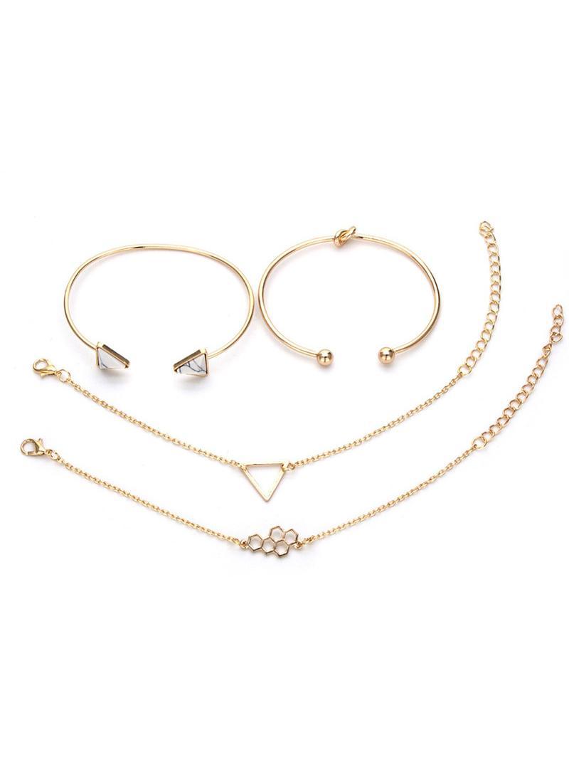 4Pcs Geometric Triangle Design Hollow Bracelets Set