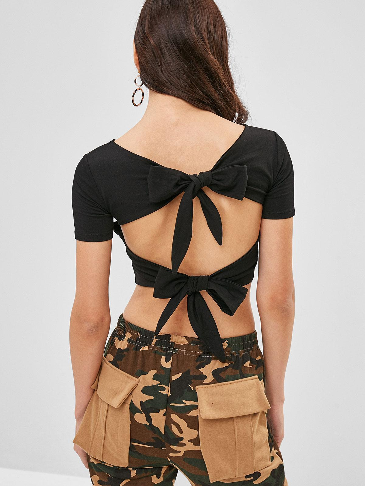 Open Back Knotted Cropped Tee