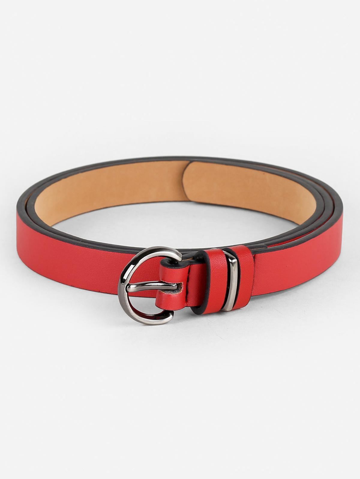 Simple Artificial Leather Skinny Waist Belt