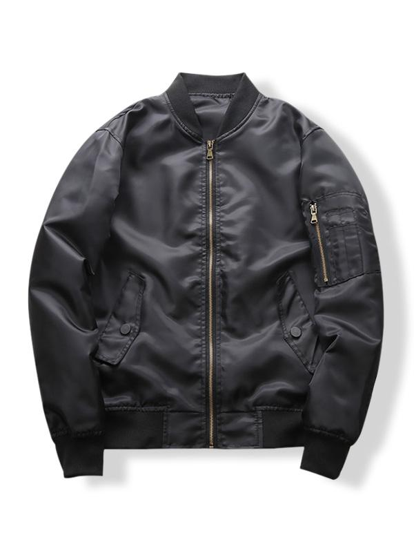 Sleeve Zipper Pocket Solid Color Casual Jacket